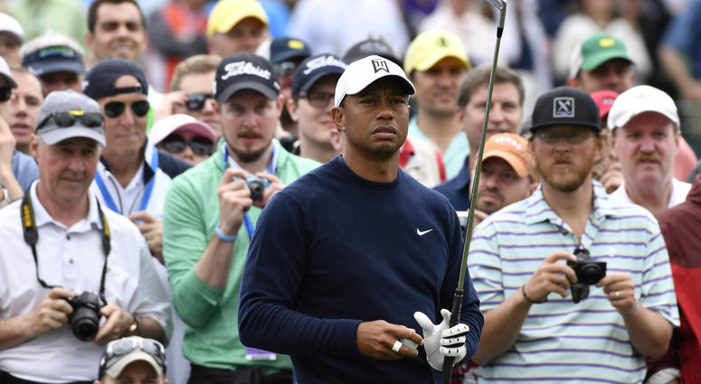Tiger Woods on the 3rd tee during a practice round for the Masters golf tournament at Augusta National Golf Club.