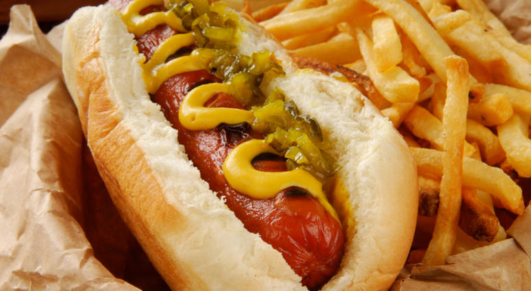 Very closeup shot of a hot dog with mustard, relish and fries - shallow depth of field, focus on hot dog