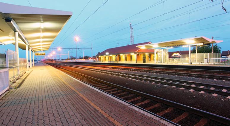 Railway with train platform at night - Slovakia