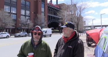 Patrick and Earl have been camping outside of Busch Stadium since Saturday night.