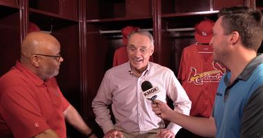 MLB commissioner Rob Manfred with KMOX's Mike Claiborne & Chris Hrabe