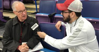 "NBC hockey broadcaster Mike ""Doc"" Emrick chats with KMOX's Alex Ferrario at Scottrade Center."