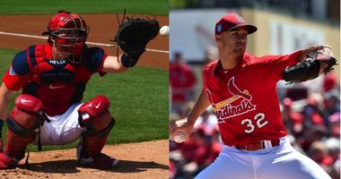 Cardinals players Carson Kelly and Jack Flaherty.
