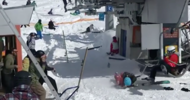 Video was posted on Instagram of the broken ski lift throwing riders in the air.
