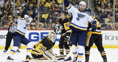 St. Louis Blues defenseman Joel Edmundson celebrates a goal