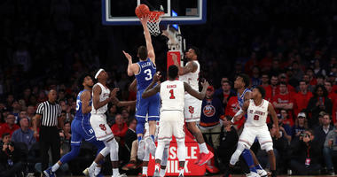 Duke Blue Devils guard Grayson Allen (3) shoots during the second half against the St. John's Red Storm