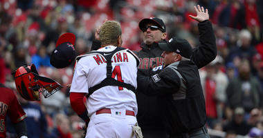 Yadier Molina argues with Diamondbacks manager.