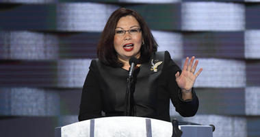 Jul 28, 2016; Philadelphia, PA, USA; Rep. Tammy Duckworth, (D-IL), speaks during the 2016 Democratic National Convention at Wells Fargo Center.