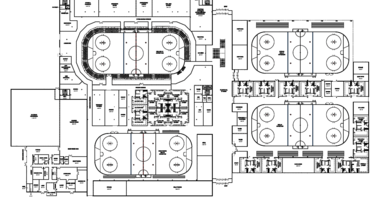 Blue prints of proposed ice sports complex in St. Louis County.