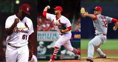 Cardinals pitchers Alex Reyes, Alex Wainwright and Jack Flaherty