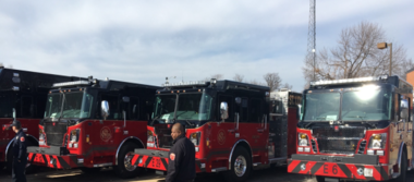 Jan. 31, 2018 - St. Louis city firefighters show off nearly a dozen new trucks and other pieces of equipment purchased as a result of the 2016 passage of Prop F, a $25 million no tax increase general obligation bond.
