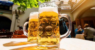 German beer in a beer garden