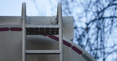 Large fuel tanker truck ladder detail.