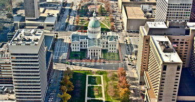 Aerial view of the city of St. Louis, Missouri