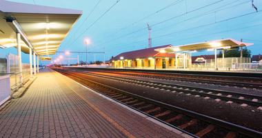 Railway with train platform at night - Slovakia