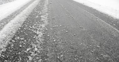 Snow mud on street background