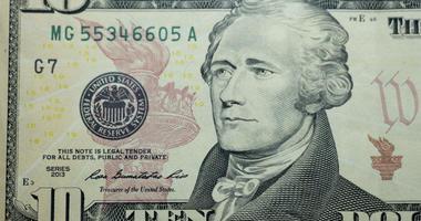 Ten dollar bill 10 usd closeup macro, Alexander Hamilton portrait, united states money close up, 2013 series