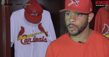 Tommy Pham interviewed in Cardinals spring training locker room