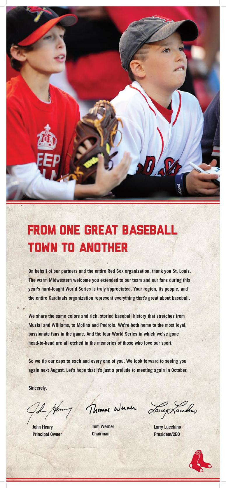 Boston Red Sox add in St. Louis Post-Dispatch in 2013.