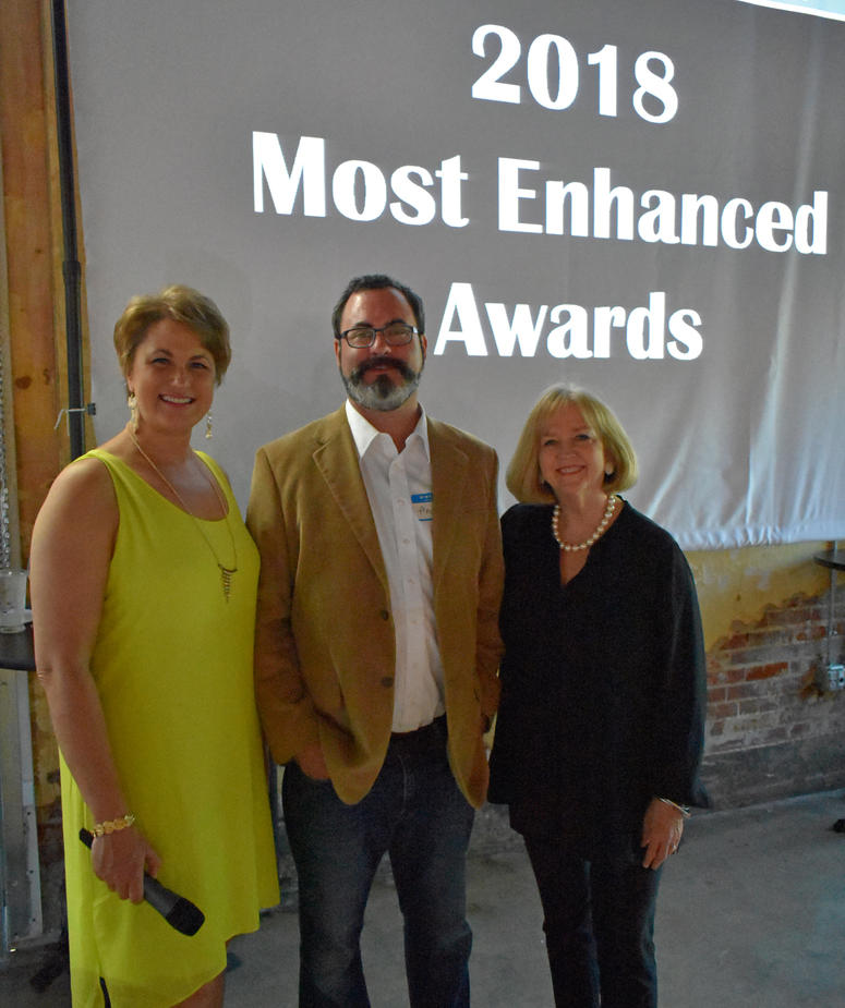 Most Enhanced Awards. Monterrey, Landmarks' Exec. Director Andrew Weil, Mayor Lyda Krewson. Photo Courtesy of Landmarks Association of STL