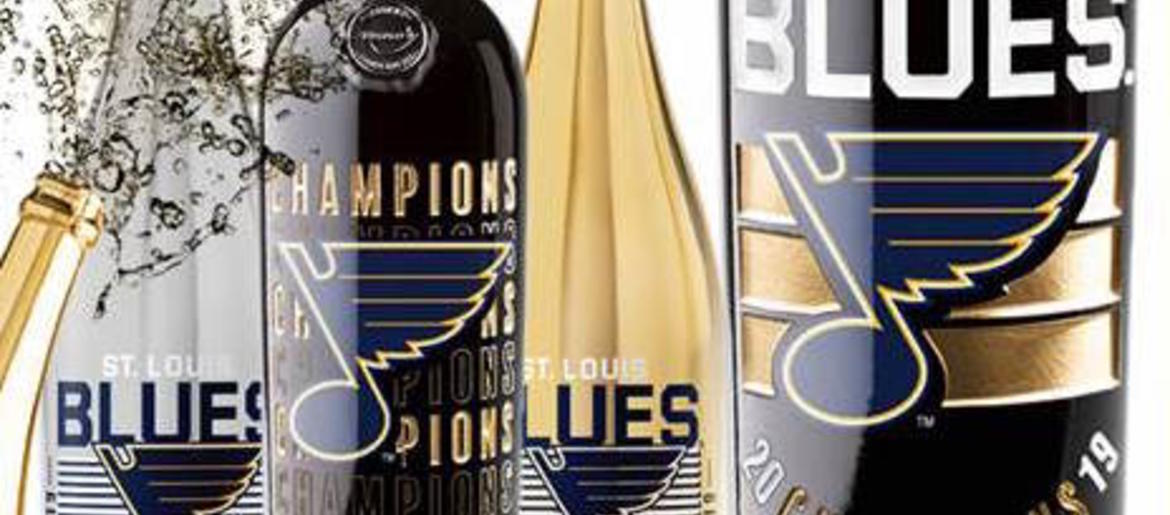 Where to buy St  Louis Blues commemorative wine, champagne bottle