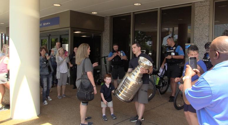 WATCH: Blues trainer takes Stanley Cup to Barnes-Jewish Hospital for a special reason