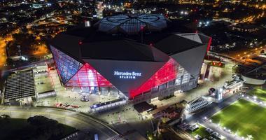 Mercedes-Benz Stadium is seen in this aerial photo in Atlanta.