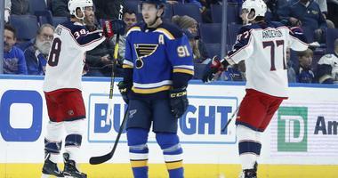 St. Louis Blues' Vladimir Tarasenko, skates after a Columbus goal.