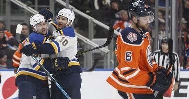 St. Louis Blues' Vladimir Tarasenko (91) and Brayden Schenn (10) celebrate a goal
