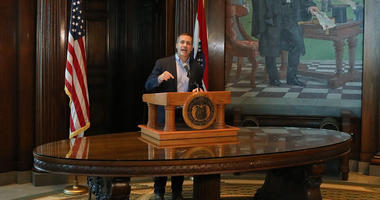 Missouri Gov. Eric Greitens speaks at a news conference about allegations related to his extramarital affair with his hairdresser, in Jefferson City, Mo., Wednesday, April 11, 2018. Greitens initiated a physically aggressive unwanted sexual encounter with