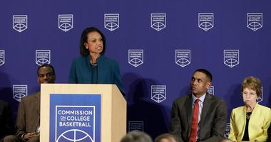 Former U.S. Secretary of State Condoleezza Rice speaks during a news conference at the NCAA headquarters, Wednesday, April 25, 2018, in Indianapolis.