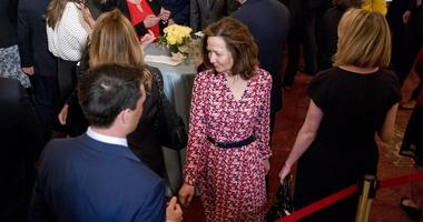 In this May 2, 2018, photo, CIA Director-nominee Gina Haspel attends the ceremonial swearing in for Secretary of State Mike Pompeo at the State Department in Washington. Haspel is telling senators that she would stand firm against restarting the spy agenc