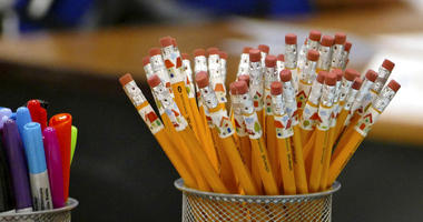 In this July 24, 2017 photo, pencils are at the ready on a teachers desk at Bruns Academy in Charlotte, N.C.