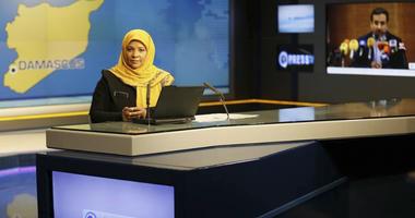 American-born news anchor Marzieh Hashemi at studio in Tehran, Iran.