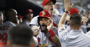 St. Louis Cardinals' Matt Carpenter, center celebrates with teammates after hitting a home run