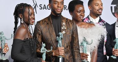 The cast of Black Panther, winners of the Outstanding Performance by a Cast in a Motion Picture at the 25th annual Screen Actors Guild Awards at The Shrine Exposition Center on January 27, 2019 in Los Angeles, California.