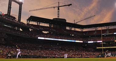 St. Louis Cardinals right fielder Jose Martinez (38) bats against Pittsburgh Pirates starting pitcher Trevor Williams
