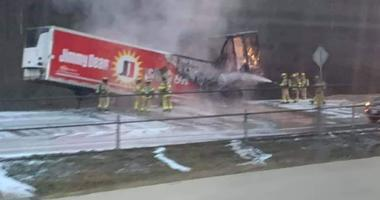 Trailer catches fire on Interstate 44 in Eureka, MO April 6, 2019