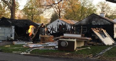 wreckage of a house, explosion debris, belleville illinois