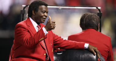 Hall of Famer and former St. Louis Cardinals player Lou Brock participates in pregame festivities