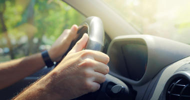 hands on steering wheel, driving