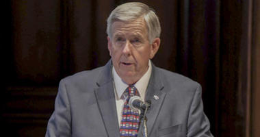 Missouri's Governor Mike Parson, speaks to reporters after being sworn in as Missouri's 57th Governor, in Jefferson City, Missouri on June 1, 2018.