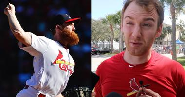 Cardinals pitcher John Brebbia on his beard.