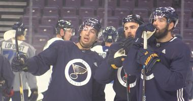 Jordan Kyrou at St. Louis Blues practice with Ryan O'Reilly and Pat Maroon.