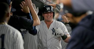 New York Yankees first baseman Luke Voit (45) celebrates his two run home run