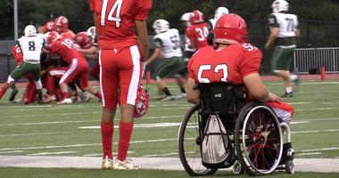 Holder on the Kirkwood JV football team, Mack Reed (No. 53).