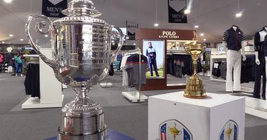 The PGA Championships' Wanamaker Trophy sits inside the nearly 47,000 sq. foot merchandise tent at Bellerive Country Club.