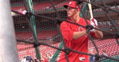 Nolan Gorman, the St. Louis Cardinals top draft pick (19th overall) takes batting practice at Busch Stadium.