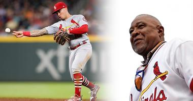 St. Louis Cardinals second baseman Kolten Wong and Hall of Famer Ozzie Smith