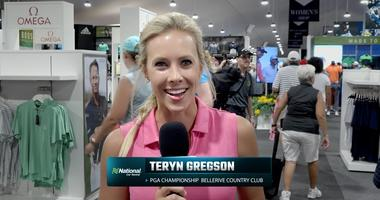 Terny Gregson at the PGA Championship Merchandise Tent.